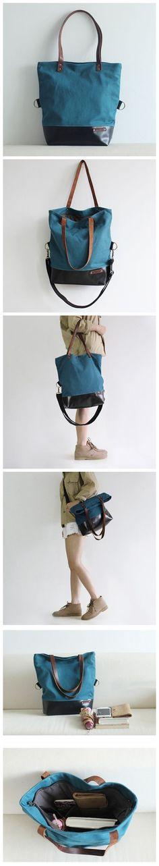 Canvas and Leather Tote Bag Messenger Bag Crossbody Bag Daily Bag