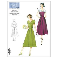 Visit the pattern department in store to browse our patterns available in store.Fitted, below mid-calf length, flared sleeveless dresses A, B have sailor collar, front and back pleats with waistline s