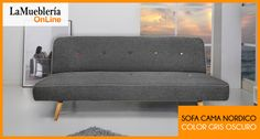Sofa Cama Criqueto gris oscuro con botones de colores  en stock en la Muebleria OnLine