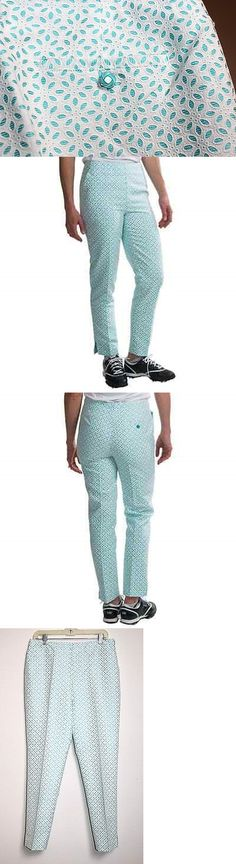 Pants 181148: Ep Pro - 8 (M) - Nwt - White And Aqua Blue Floral Eyelet Capris Crop Golf Pants -> BUY IT NOW ONLY: $47.99 on eBay!