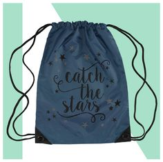 Turnbeutel - Sportbeutel CATCH THE STARS  mit Spruch in silber - ein Designerstück von KOAHEA bei DaWanda