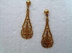 filigree tear drop earrings filigree earrings by ALEXLITTLETHINGS, $13.22