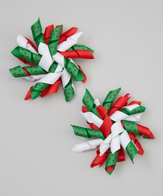 Another great find on #zulily! Red & Green Korker Ribbon Hair Bow Set #zulilyfinds