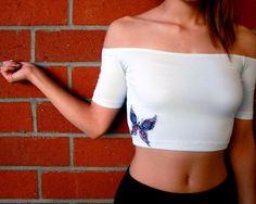 Butterfly Off-Shoulder Crop Top-Butterfly Crop Top-White Crop Top-American Apparel Off-Shoulder Top by ZellyaDesigns on Etsy https://www.etsy.com/listing/246227908/butterfly-off-shoulder-crop-top
