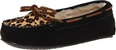 Minnetonka Women's Leopard Cally Slipper Moccasin,Black,8 M US * Be sure to check out this awesome product.