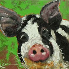 Pig painting 101 12x12 inch original oil painting by Roz on Etsy, $95.00