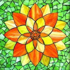 "Orange/Yellow Lotus Flower, stained glass mosaic, 11"" x 11"" (12"" x12"" framed), 2014 by Kasia Polkowska  Visit Kasia Mosaics on Facebook: https://www.facebook.com/KasiaMosaics"