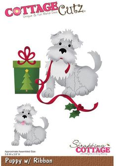 CottageCutz Puppy With Ribbon Christmas Die
