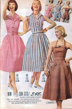 1953 Aldens Catalog Dresses sundress brown red white gingham blue stripe full skirt models magazine vintage fashion style Source by ambermiddaugh fashion dress Fashion 60s, Fashion History, Vintage Fashion, Fashion Outfits, Club Fashion, 1950s Inspired Fashion, Fashion Ideas, Vintage Outfits, Vintage 1950s Dresses