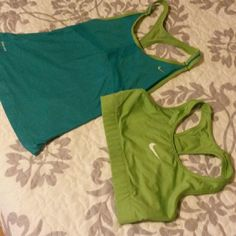 Nike Workout tops Turquoise and lime green NiKe DriFit workout top and bra. They fit tight and very breath able. Nike Tops Tank Tops