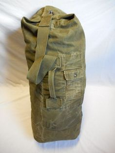 96229fc8eb24 Vintage wwii od green canvas duffle bag w exterior pocket