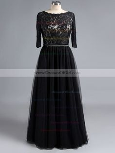Affordable Scoop Neck Black Tulle Lace with Open Back 3/4 Sleeve Long Prom Dress
