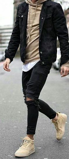 fashion menswear outfits Denim sweater mens men shirt hoodie wear style fashstop tracksuit vans converse street fash stop jeans ripped jeans denim shirts jacket hoodie boots tee Shorts Summer abs gym workout Denim Shirt Men, Denim Jacket Men, Ripped Jeans Men, Mode Masculine, Jean Jacket Outfits, Herren Style, Summer Outfits Men, Outfit Summer, Herren Outfit