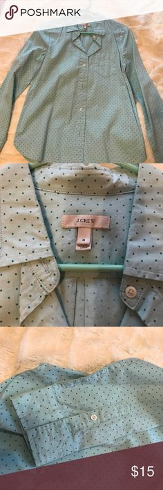 J.Crew button down top Light blue with green small polka dots, J.Crew button down long sleeve top. J. Crew Tops Button Down Shirts
