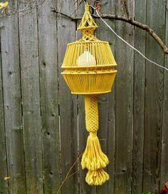 Vintage Large Macrame Hanging Light Fiber Art by blueflowervintage