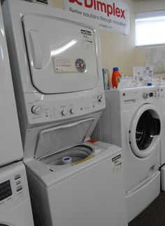 Compact laundry units are gaining popularity and sporting some great features. When space is limited, consider compact or stackable laundry appliances, a portable washer or a stack laundry center or all-in-one washer dryer; options for space-saving laundry appliances