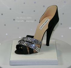 Black Gumpaste Shoe Cake Topper - Made for a customer who was making her own cake.  Studded with real Swarovski's.