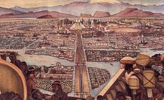 The Aztec city of Tenochtitlan as imagined by Mexican artist, Diego Rivera.