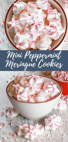These Mini Peppermint Meringue Cookies are little melt-in-your-mouth meringues that are filled with peppermint extract and sprinkled with crushed peppermint candies! #meringuecookeis #peppermint Cookie Desserts, Fun Desserts, Cookie Recipes, Delicious Desserts, Dessert Recipes, Holiday Desserts, Holiday Decor, Peppermint Meringues, Peppermint Cookies