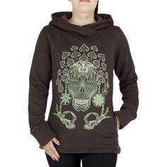 Brown women psytrance hoodie with skull and mandala print, designs by Symbolika brand, festival trance warm hoodie on baliwoodshop.com