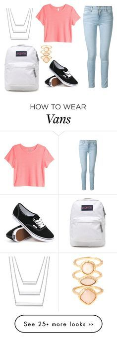 """""""second day of school outfit inspiration"""" by bubblygirl11 on Polyvore featuring Frame Denim, H&M, Vans, JanSport and Monsoon"""