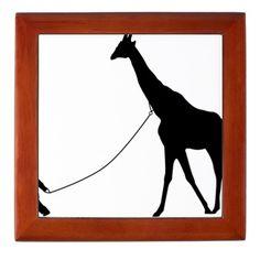 Baby and Giraffe black Keepsake Box
