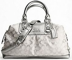 my fav coach purse silver and white