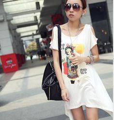 White Loose Asymmetric Cut T-shirt with Cute Print Korean Collection