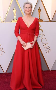 Meryl Streep from Standout Style Moments From Oscars 2018  We knew Meryl would wear some kind of long-sleeve gown, but this red Dior gown definitely took us by surprise.