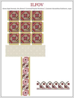 Semne Cusute: IA de BUCURESTI ! Textile Patterns, Embroidery Patterns, Textiles, Beading Patterns, Cross Stitch Patterns, Hama Beads, Traditional Outfits, Pixel Art, Stencils