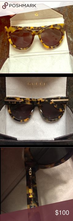 Karen Walker Sunburst Sunglasses Authentic Karen Walker Sunburst Sunglasses. Tortoise coloration. New condition. Includes GUCCI sunglasses case. Price firm ! ** Poshers who were interested prior please message me, will sell for same price ** Karen Walker Accessories Glasses