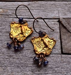 Brass Bird and Iolite Earrings by LoreleiEurtoJewelry on Etsy