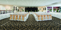The Arlington Suite - chair covers, gold sashes Function Room, North Devon, Short Break, Chair Covers, Sash, Table Decorations, Luxury, Gold, Home Decor