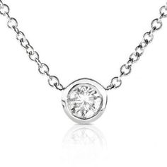Diamond Solitaire 1/6 Carat Bezel Necklace in Platinum *** Be sure to check out this awesome product.