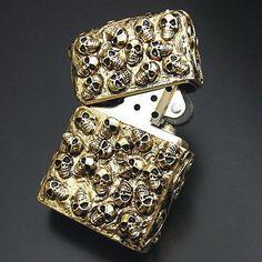 Japanese Plated Golden Skull Jacket Zippo Lighter-SKULL-JACKET-G4