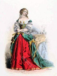 巴洛克風格的服飾。 17世紀的服裝。 路易十四的時尚。 朝服在凡爾賽。 弗朗索瓦 - 瑪格麗特德塞維涅