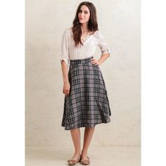 Ruche A Lesson To Learn Plaid Midi Skirt (69 CAD) ❤ liked on Polyvore featuring skirts, grey, plaid midi skirt, ruched skirt, gray skirt, grey plaid skirt and flared midi skirt