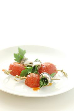 summer white anchovy & tomato skewers