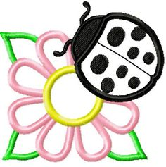 This free embroidery design is a ladybug and a flower.  Thanks to My Embroidery Haven for posting it.
