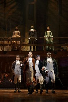Jordan Fisher, Javier Munoz, Seth Stewart and Okieriete Onaodowan with (back row) MAndy Gonzalez, Brandon Victor Dixon and Lexi Lawson.