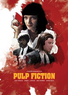 Pulp Fiction - Artwork featuring Mia Wallace, Jules Winnfield and Vincent Vega #GangsterMovie #GangsterFlick