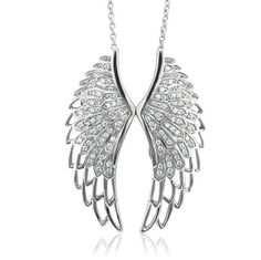 Sterling Silver Angel Feather Wing White Diamond Pendant Necklace (HI, carat): Diamond Delight: Jewelry Angel Wings Jewelry, Angel Wing Necklace, Angel Wing Pendant, Diamond Pendant Necklace, Pendant Jewelry, Ruby Pendant, Diamond Necklaces, Drop Necklace, Diamond Jewelry