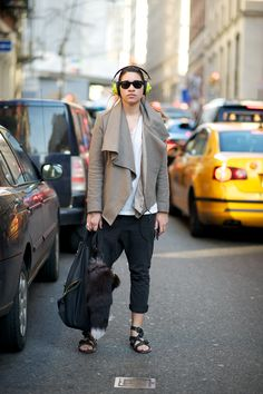 want the jacket   (ps Her sandals are from the men's section at All Saints)