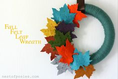 Gorgeous colors make this Fall Felt Leaf Wreath burst against any background. The yard wrapped wreath form adds another powerful punch of yummy texture.