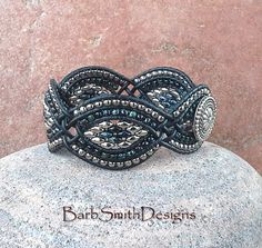 Black Silver Beaded Leather Cuff Wrap Bracelet by BarbSmithDesigns