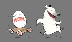 New delivery.  What's in the egg?  #art #illustration #cartoon #animal #polarbear #egg