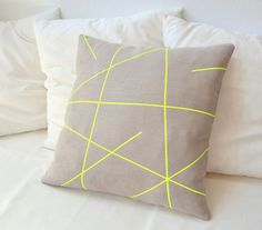 $28.88 Beige linen pillow cover with neon yellow stripes