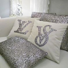 Set Of 2 Initial Pillow Covers, Silver Sequins & White Velvet Pillow, Glitter Letter Cushion, Seat P Letter Cushion, Monogram Pillows, Cute Pillows, Bed Pillows, Letter Pillow, Pillow Room, Glam Bedroom, Bedroom Decor, Home Decor Ideas