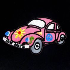 """Pink Volkswagen Turtle 2.2""""x3.7"""" Iron On Patch Sew Embroidered Appliques I0553 #Dealtique"""