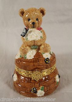 San Francisco Music Box Co Teddy bear Butterfly Bees Trinket My Favorite Things